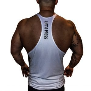 Rear View of Lift & Press Men's Gym Stringer