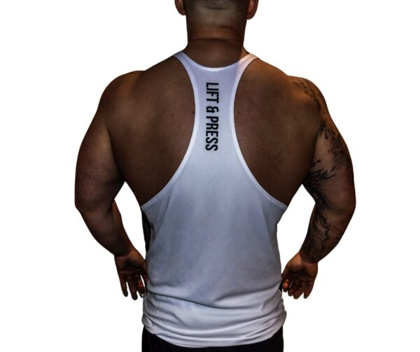Rear View of Lift & Press Men's Gym Stringer
