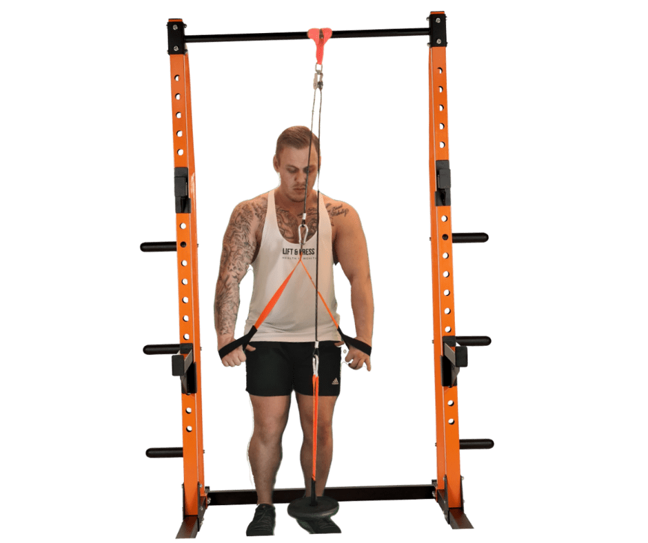 orange and black cable pulley system